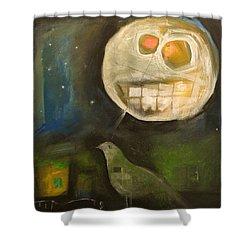 Night Bird Harvest Moon Shower Curtain by Tim Nyberg
