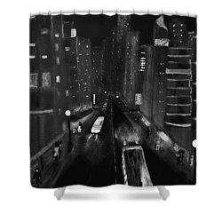 Night City Scape Shower Curtain