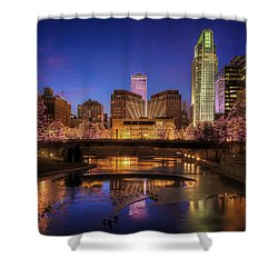 Night Cityscape - Omaha - Nebraska Shower Curtain by Nikolyn McDonald