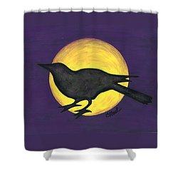 Night Crow On Purple Shower Curtain