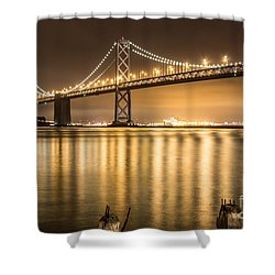 Night Descending On The Bay Bridge Shower Curtain by Suzanne Luft
