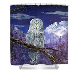 Shower Curtain featuring the painting Night Hunter by Lee Piper