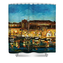 Night In Dubrovnik Harbour Shower Curtain