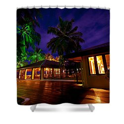 Night Lights At The Resort Shower Curtain by Jenny Rainbow