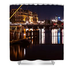 Night Lights On The Amsterdam Canals 2. Holland Shower Curtain by Jenny Rainbow