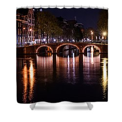 Night Lights On The Amsterdam Canals 4. Holland Shower Curtain by Jenny Rainbow