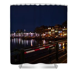 Night Lights On The Amsterdam Canals 5. Holland Shower Curtain by Jenny Rainbow