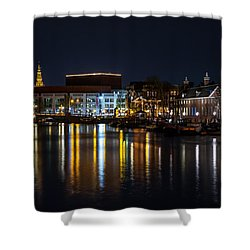 Night Lights On The Amsterdam Canals 6. Holland Shower Curtain by Jenny Rainbow