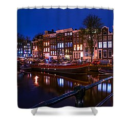Night Lights On The Amsterdam Canals. Holland Shower Curtain by Jenny Rainbow