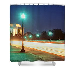 Night, Lincoln Memorial, District Of Shower Curtain by Panoramic Images