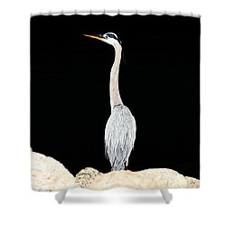 Night Of The Blue Heron  Shower Curtain
