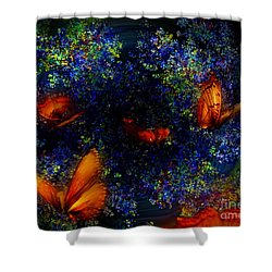 Shower Curtain featuring the digital art Night Of The Butterflies by Olga Hamilton