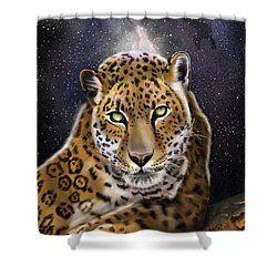 Shower Curtain featuring the painting Fourth Of The Big Cat Series - Leopard by Thomas J Herring