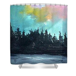 Night River Shower Curtain by Sergey Bezhinets