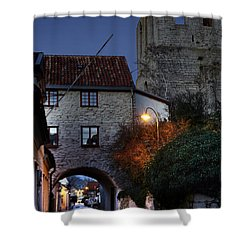 Night Scene In Medieval Town Shower Curtain by Ladi  Kirn