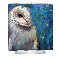 Shower Curtain featuring the drawing Night Snow Owl by Jieming Wang