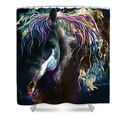 Night Stallion Shower Curtain by Sherry Shipley