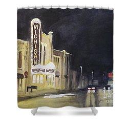Night Time At Michigan Theater - Ann Arbor Mi Shower Curtain