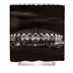 night WVU Coliseum basketball arena Shower Curtain