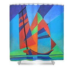 Shower Curtain featuring the painting Nightboat by Tracey Harrington-Simpson