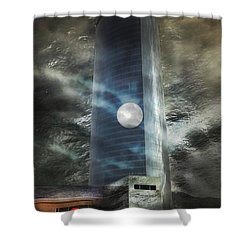 Shower Curtain featuring the digital art Nightmare Tower by Rosa Cobos