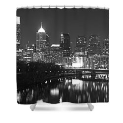 Shower Curtain featuring the photograph Nighttime In Philadelphia by Alice Gipson