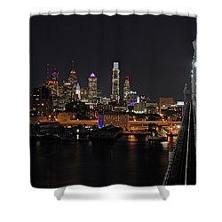 Nighttime Philly From The Ben Franklin Shower Curtain