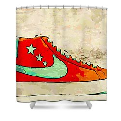 Nike Blazer Orange Shower Curtain by Alfie Borg