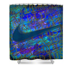 Nike Just Did It Blue Shower Curtain