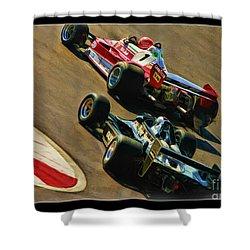 Niki Lauda Leads Mario Andretti Shower Curtain