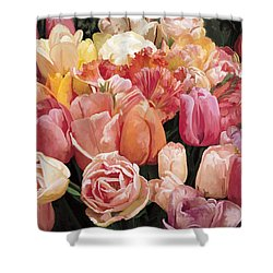 Shower Curtain featuring the painting Nikki's Tulips by Tim Gilliland