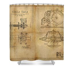 Nikola Telsa's Work Shower Curtain by James Christopher Hill