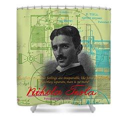 Nikola Tesla #3 Shower Curtain by Jean luc Comperat