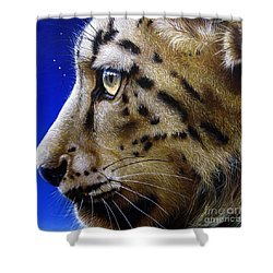 Nina The Snow Leopard Shower Curtain by Jurek Zamoyski