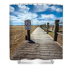 No Diving Shower Curtain by Ray Warren