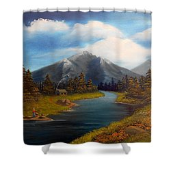No Electronics Here Shower Curtain by Sheri Keith