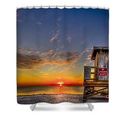 No Life Guard On Duty Shower Curtain by Marvin Spates