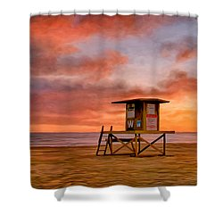 No Lifeguard On Duty At The Wedge Shower Curtain by Michael Pickett