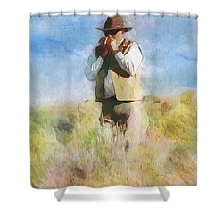 Shower Curtain featuring the painting No Useless Cares by Greg Collins
