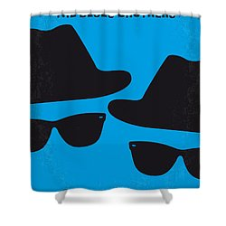 No012 My Blues Brother Minimal Movie Poster Shower Curtain by Chungkong Art