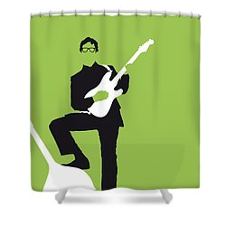 No056 My Buddy Holly Minimal Music Poster Shower Curtain