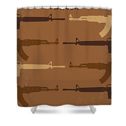 No115 My Platoon Minimal Movie Poster Shower Curtain by Chungkong Art
