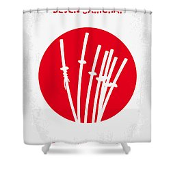 No200 My The Seven Samurai Minimal Movie Poster Shower Curtain by Chungkong Art