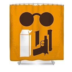 No239 My Leon Minimal Movie Poster Shower Curtain by Chungkong Art