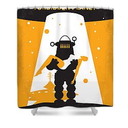 No415 My Forbidden Planet Minimal Movie Poster Shower Curtain