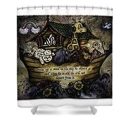 Noah's Ark Shower Curtain by La Rae  Roberts