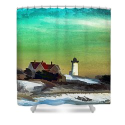 Nobska Lighhouse In Winter Shower Curtain