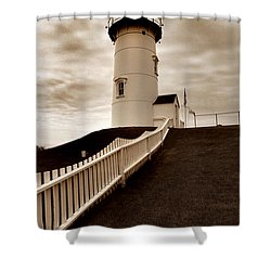 Nobska Lighthouse Shower Curtain by Skip Willits