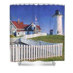 Nobska Point Lighthouse Shower Curtain by Jean-Pierre Ducondi
