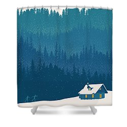 Nordic Ski Scene Shower Curtain
